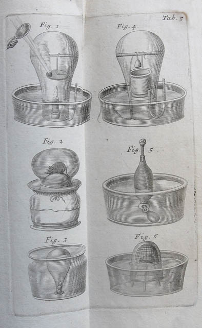 Illustrations showing Mayow's experiments to determine the constituent parts of air