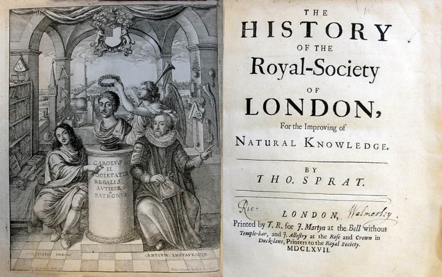 The title page of Sprat's The history of the Royal Society