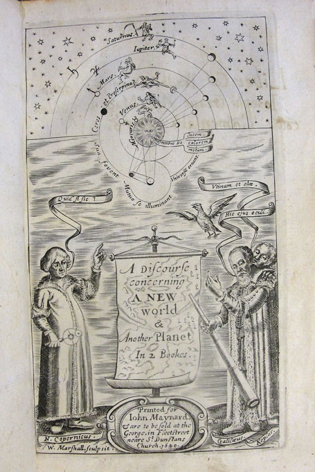 The frontispiece to John Wilkins' A discourse concerning a new world and another planet