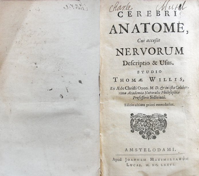 The title page of Thomas Willis's Cerebri Anatome