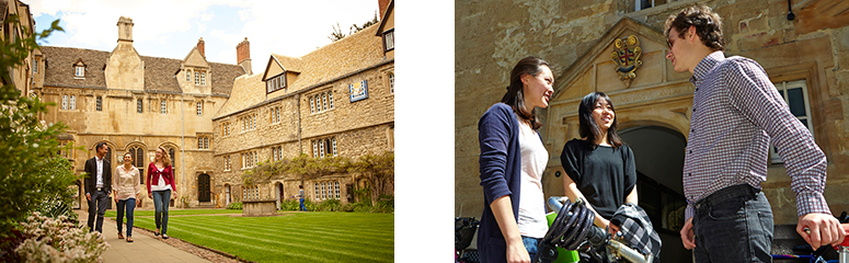 Students walking through the front quad at St Edmund Hall and outside the College's entrance