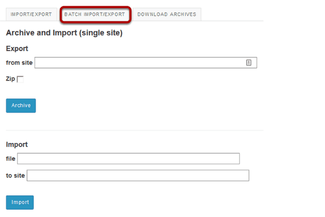 Click Batch Import/Export.