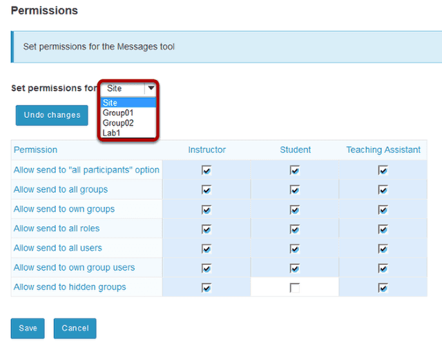 Use drop-down menu for separate permissions based on groups. (Optional)