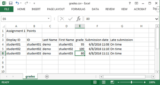 Enter grades and comments into spreadsheet and save.