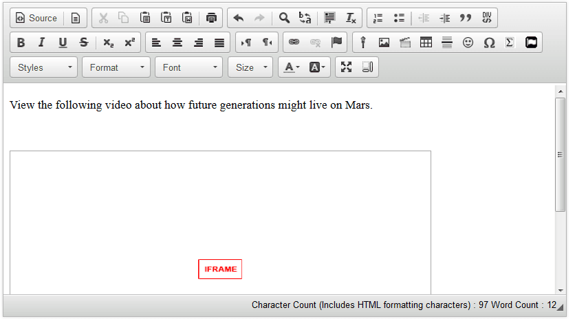 How do I embed a YouTube video in a text box?