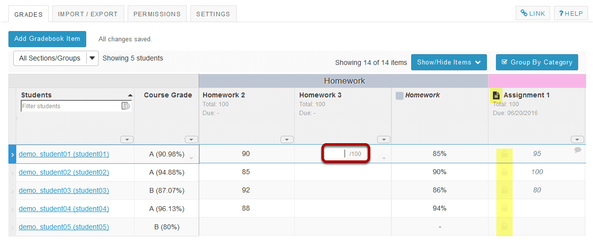 how do i enter and or edit grades in gradebook
