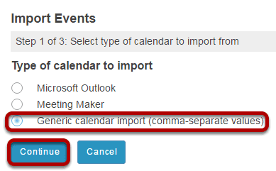 How do I import Calendar entries from a file?