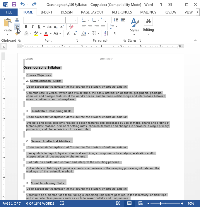 How to paste in word