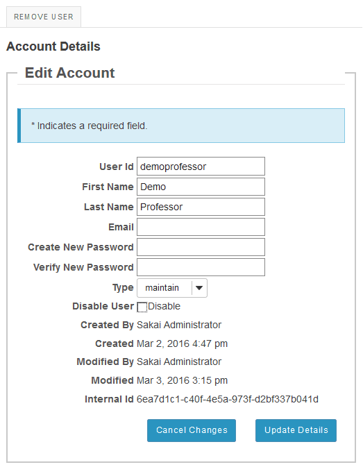 Click on an individual user id to view and edit that user's details.