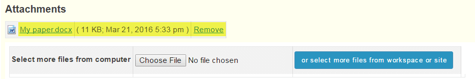 once you have attached your file the name of the file as well as the file size and upload time stamp will be displayed under attachments